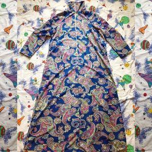 VTG 60s Psychedelic Paisley Kaftan Lounge Dress
